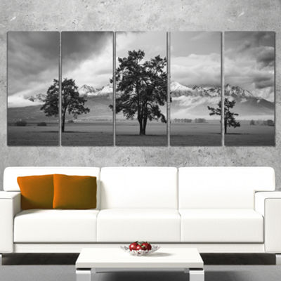 Designart Three Trees in Front of Mountains Landscape Artwork Canvas - 5 Panels