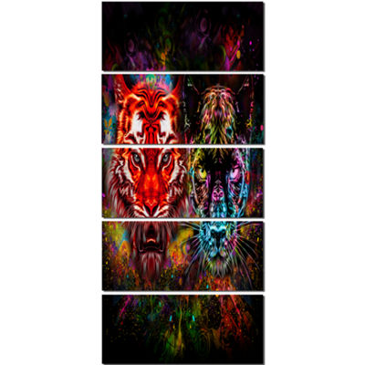 Designart Tiger and Panther with Splashes Animal Canvas ArtPrint - 5 Panels