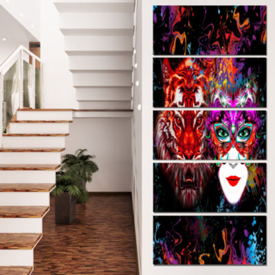 Designart Tiger and Woman Colorful Faces AbstractWall Art Canvas - 5 Panels