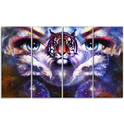 Designart Tiger Eagles and Woman Eyes Collage Animal CanvasArt Print - 4 Panels