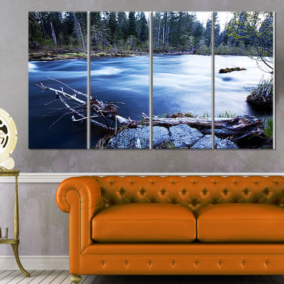 Designart Blue River in Forest at Evening Oversized Landscape Canvas Art - 4 Panels