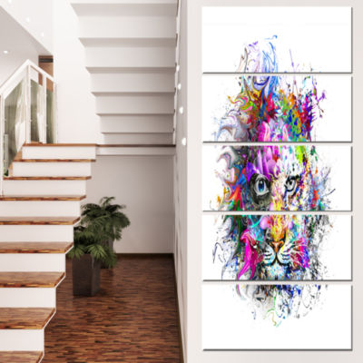 Designart Tiger Face in Colorful Splashes AbstractWall ArtCanvas - 5 Panels