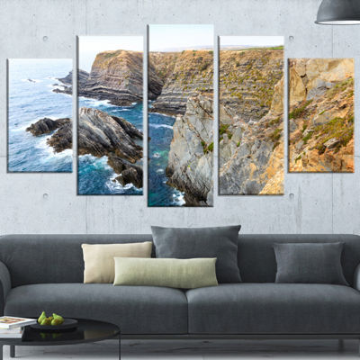 Designart Blue Rocky Bay Portugal Panorama ExtraLarge Seashore Wrapped Canvas Art - 5 Panels