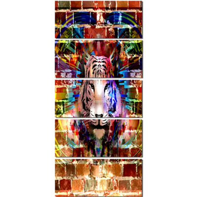 Designart Tiger Over Abstract Brick Design Abstract Wall ArtCanvas - 5 Panels