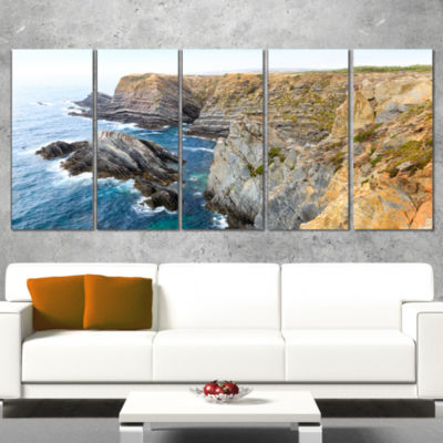 Designart Blue Rocky Bay Portugal Panorama ExtraLarge Seashore Canvas Art - 5 Panels