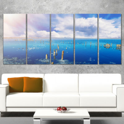 Designart Blue Salt Lake Under Clouds Large Seascape Art Canvas Print - 4 Panels