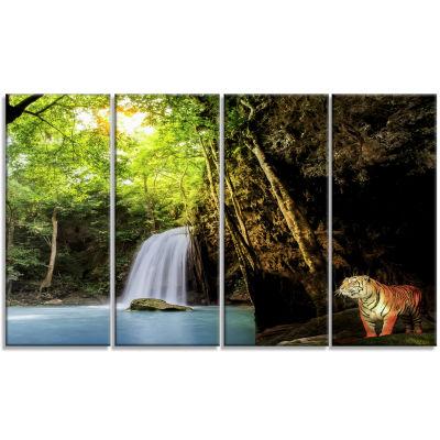 Designart Tiger Watching Waterfall Landscape Photography Canvas Art Print - 4 Panels