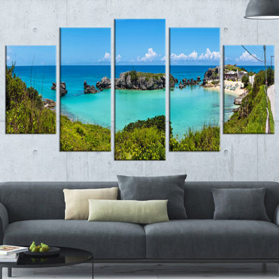 Designart Tobacco Bay Panorama Landscape Wrapped Art Print -5 Panels