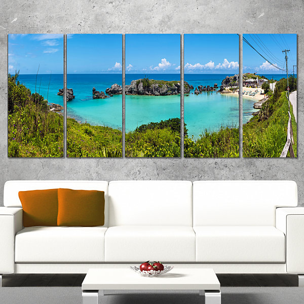 Designart Tobacco Bay Panorama Landscape Canvas Art Print -5 Panels