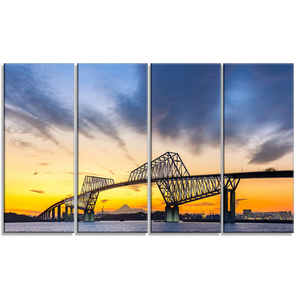 Designart Tokyo Gate Bridge Panorama Landscape Artwork Canvas - 4 Panels