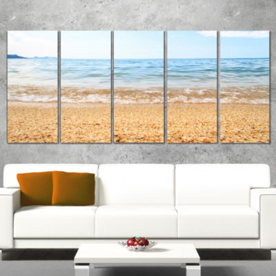 Designart Blue Seashore with Pebble Stones ModernSeascape Canvas Artwork - 4 Panels