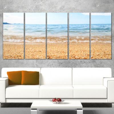 Designart Blue Seashore with Pebble Stones ModernSeascape Canvas Artwork - 5 Panels