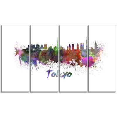 Designart Tokyo Skyline Cityscape Canvas Artwork Print - 4 Panels
