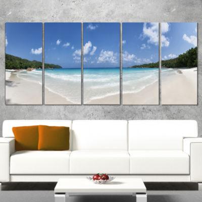 Designart Blue Seychelles Island Panorama Large Seascape Art Wrapped Canvas Print - 5 Panels