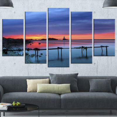 Designart Blue Sky and Waters Panorama Modern Seashore Wrapped Canvas Art - 5 Panels
