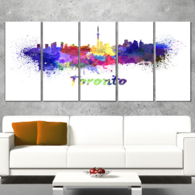 Designart Toronto Skyline Cityscape Canvas Art Print - 5 Panels
