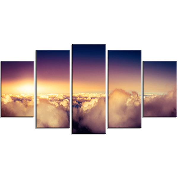 Designart Blue Sky Over Clouds Panorama LandscapeWrapped Canvas Art Print - 5 Panels