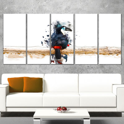 Designart Toucan on the Branch Animal Canvas WallArt - 4 Panels