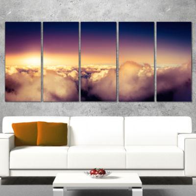 Designart Blue Sky Over Clouds Panorama LandscapeCanvas Art Print - 5 Panels