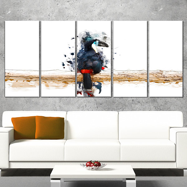 Toucan on the Branch Animal Canvas Wall Art - 5 Panels