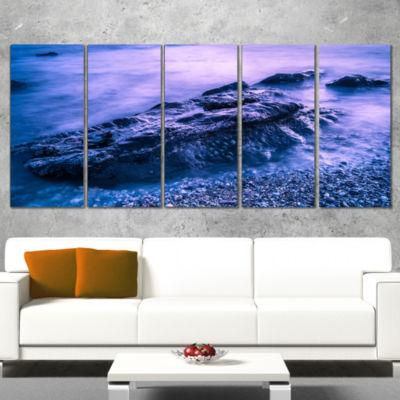 Designart Blue Slow Motion Sea Waves Modern Seascape Canvas Artwork - 4 Panels