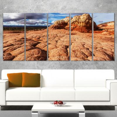 Designart Tough Rocks in Vermillion Cliffs Oversized Landscape Wrapped Art - 5 Panels
