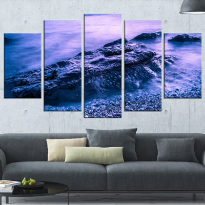 Designart Blue Slow Motion Sea Waves Modern Seascape Wrapped Canvas Artwork - 5 Panels