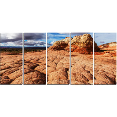 Designart Tough Rocks in Vermillion Cliffs Oversized Landscape Canvas Art - 5 Panels