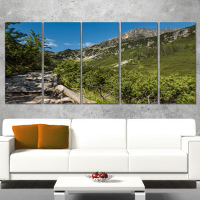 Designart Tourist Trail in High Mountains Landscape Canvas Art Print - 5 Panels
