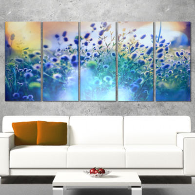 Designart Blue Summer Flowers On Meadow Floral Canvas Art Print - 5 Panels