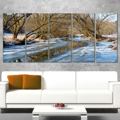 Designart Blue Sunny Day in Winter Landscape Landscape Artwork Wrapped Canvas - 5 Panels
