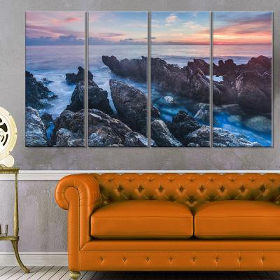 Designart Blue Sunrise Over Coast of Sicily BeachPhoto Canvas Print - 4 Panels