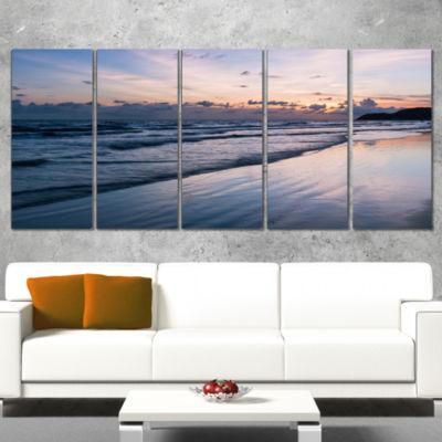Designart Blue Sunset Sea Waves Thailand OversizedBeach Wrapped Canvas Artwork - 5 Panels