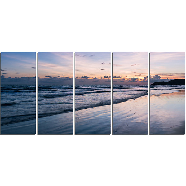 Designart Blue Sunset Sea Waves Thailand OversizedBeach Canvas Artwork - 5 Panels
