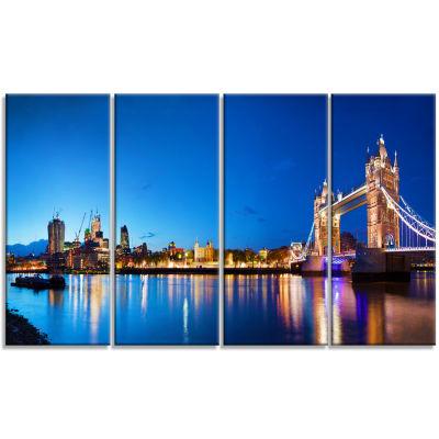 Designart Tower Bridge London Cityscape Photo Canvas Art Print - 4 Panels