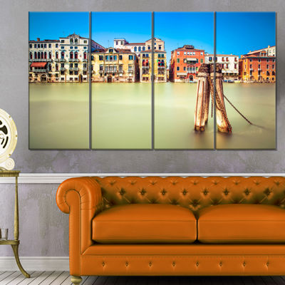 Designart Traditional Buildings of Venice Landscape Canvas Wall Art - 4 Panels