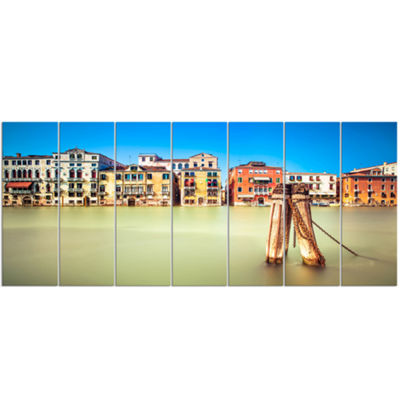 Designart Traditional Buildings of Venice Landscape Canvas Wall Art - 7 Panels