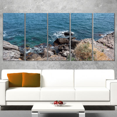 Designart Blue Waters at Crimean Peninsula BeachSeashore Canvas Art Print - 4 Panels