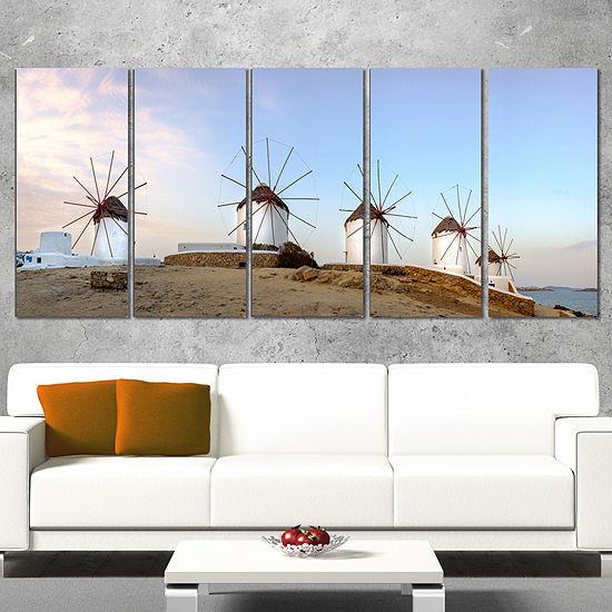 Designart Traditional Greek Windmills Panorama Landscape Canvas Art Print - 4 Panels