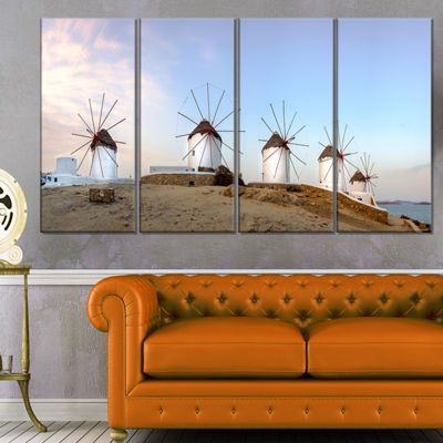 Designart Traditional Greek Windmills Panorama Landscape Canvas Art Print - 4 Panels