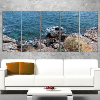 Designart Blue Waters at Crimean Peninsula BeachSeashore Wrapped Canvas Art Print - 5 Panels