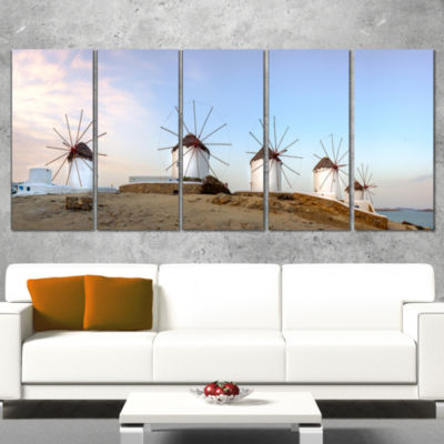 Designart Traditional Greek Windmills Panorama Landscape Canvas Art Print - 5 Panels