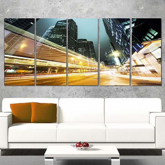 Designart Traffic in Hong Kong at Night CityscapeCanvas Print - 5 Panels