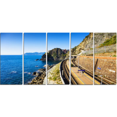 Train and Railroad Station in Manarola Oversized Landscape Wall Art Print - 5 Panels