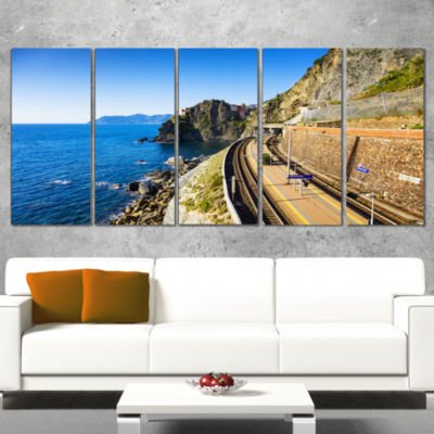 Designart Train and Railroad Station in Manarola Oversized Landscape Wall Art Print - 5 Panels