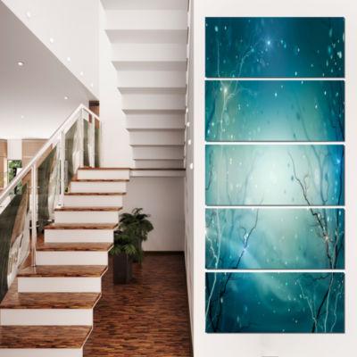 Designart Blue Winter Fantasy Forest Landscape Photo Canvas Art Print - 5 Panels
