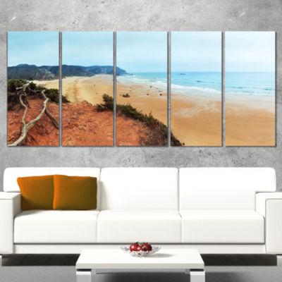 Designart Tranquil Coastline with Waves OversizedBeach Wrapped Artwork - 5 Panels