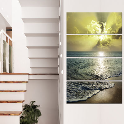 Designart Tranquil Waves Under Beautiful Clouds Large Seashore Canvas Print - 4 Panels