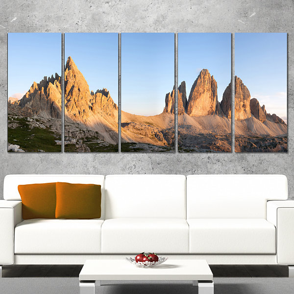 Designart Tre Cime and Monte Paterno at Sunset Landscape Canvas Art Print - 4 Panels