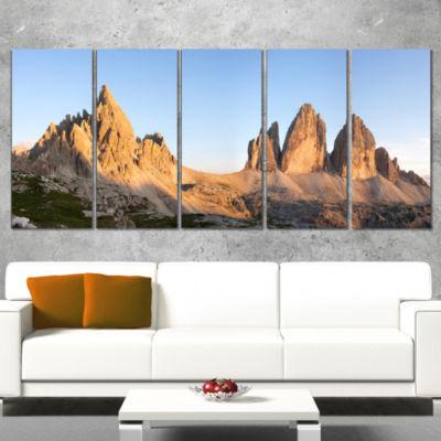 Designart Tre Cime and Monte Paterno at Sunset Landscape Wrapped Art Print - 5 Panels